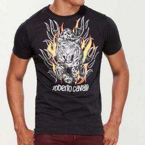 Roberto Cavalli Tiger Walking Thru Flames Shirt